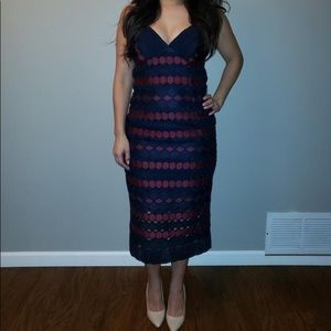 Navy Blue/Burgandy strapless dress